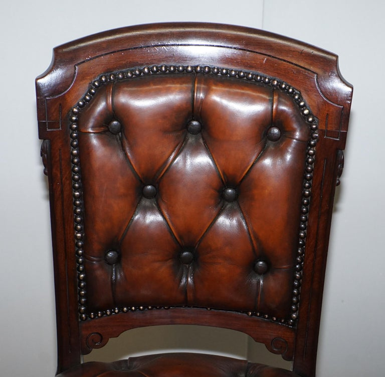 Fully Restored Suite of Five Chesterfield Brown Leather & Mahogany Dining Chairs For Sale 12