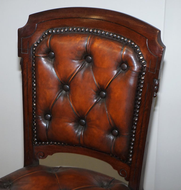 Fully Restored Suite of Five Chesterfield Brown Leather & Mahogany Dining Chairs For Sale 13