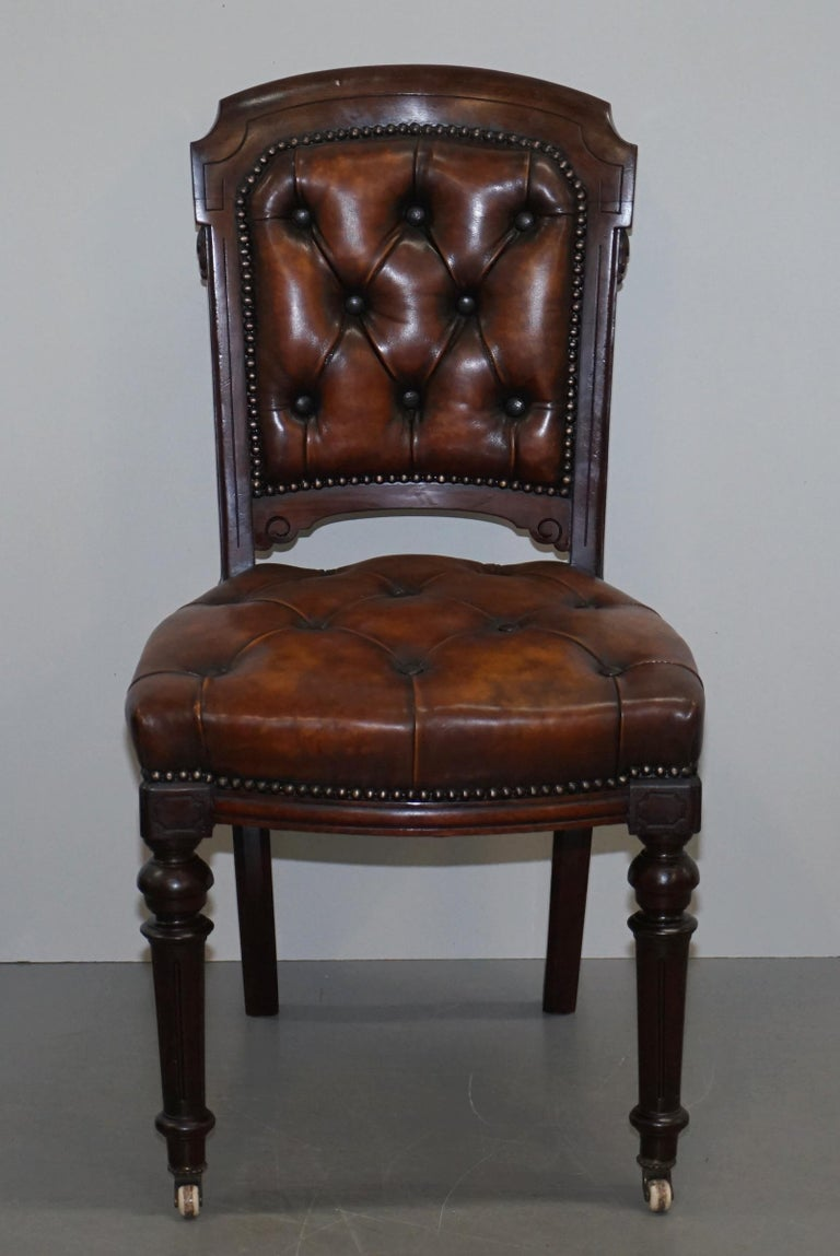 Victorian Fully Restored Suite of Five Chesterfield Brown Leather & Mahogany Dining Chairs For Sale