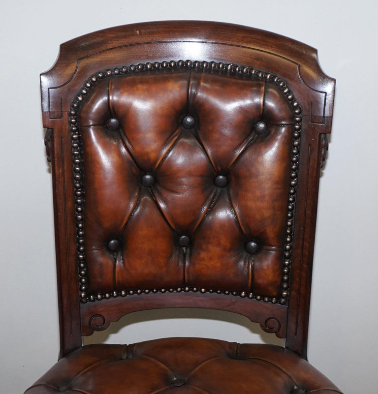 English Fully Restored Suite of Five Chesterfield Brown Leather & Mahogany Dining Chairs For Sale