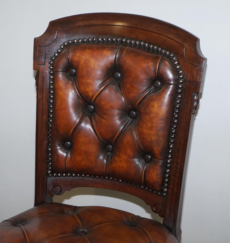 Hand-Crafted Fully Restored Suite of Five Chesterfield Brown Leather & Mahogany Dining Chairs For Sale