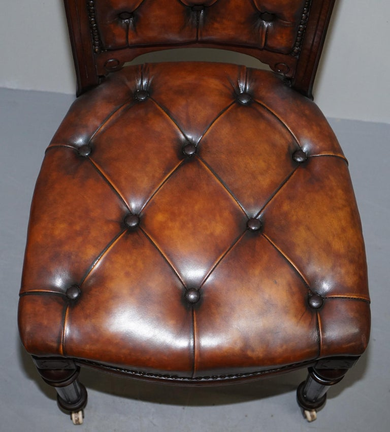 19th Century Fully Restored Suite of Five Chesterfield Brown Leather & Mahogany Dining Chairs For Sale