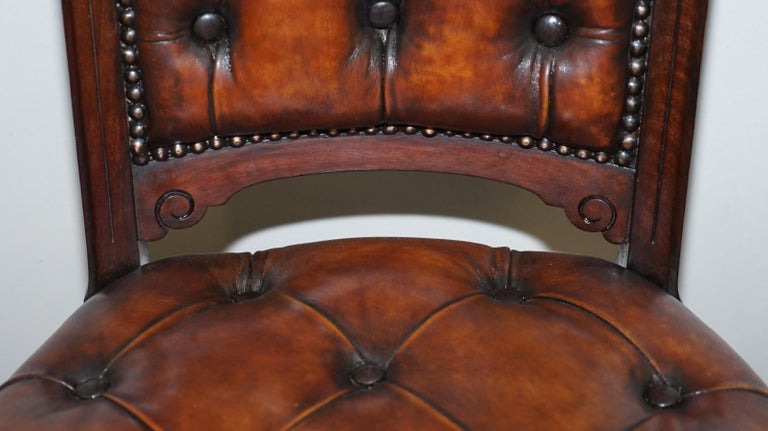 Fully Restored Suite of Five Chesterfield Brown Leather & Mahogany Dining Chairs For Sale 1