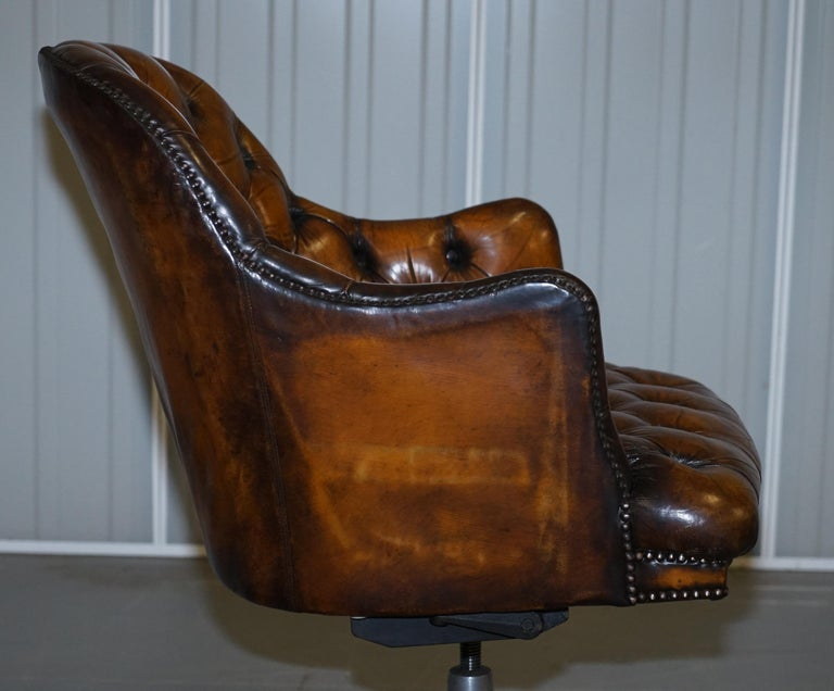 Fully Restored Vintage Brown Leather Chesterfield Captains Directors Armchair For Sale 6