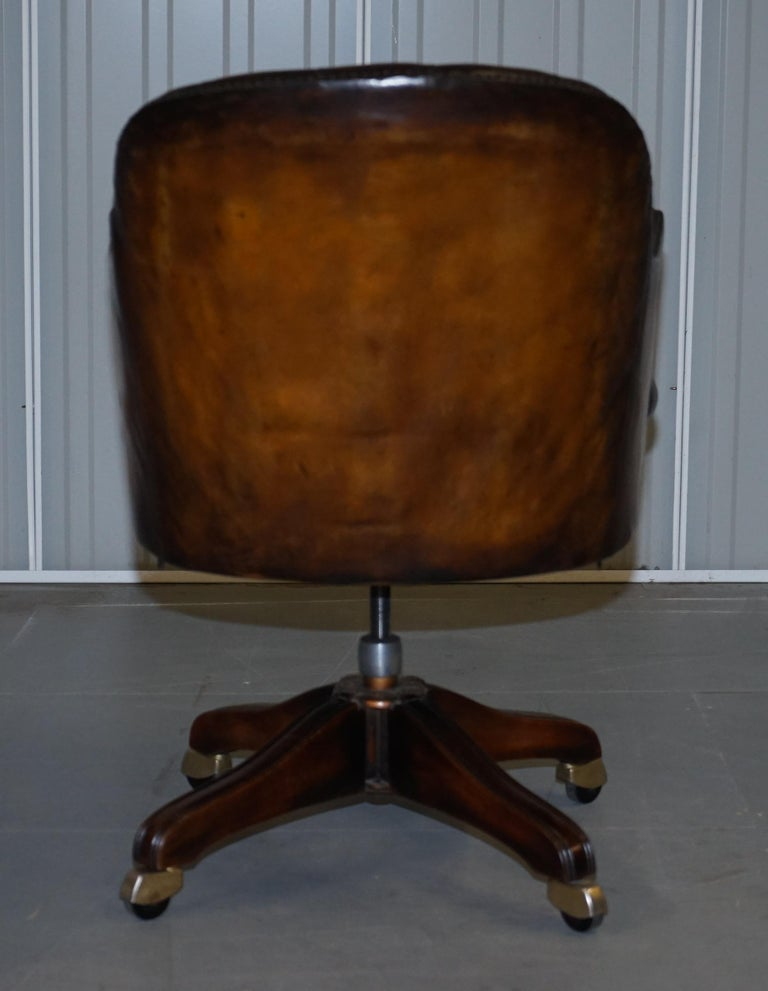 Fully Restored Vintage Brown Leather Chesterfield Captains Directors Armchair For Sale 7