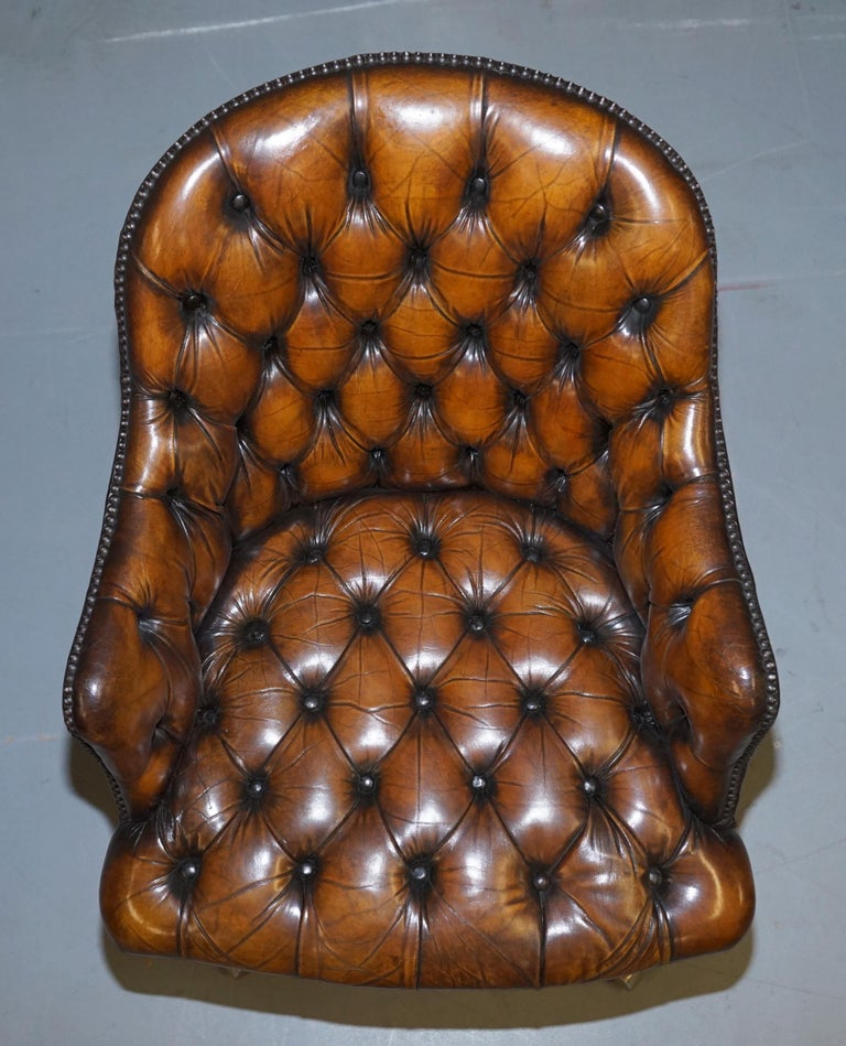 Hand-Crafted Fully Restored Vintage Brown Leather Chesterfield Captains Directors Armchair For Sale