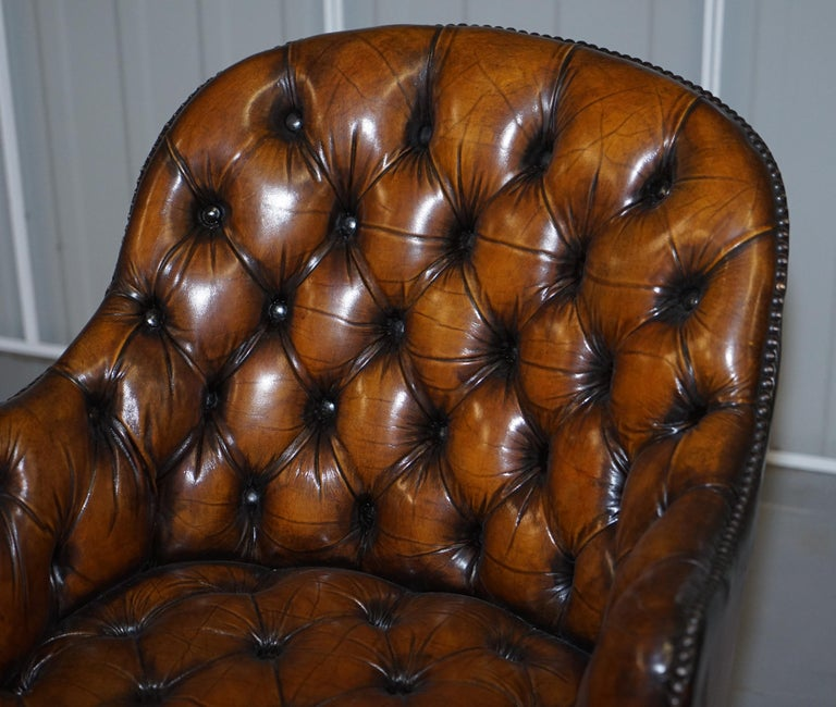 Fully Restored Vintage Brown Leather Chesterfield Captains Directors Armchair For Sale 1