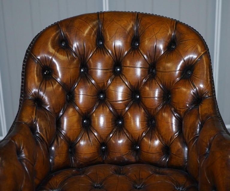 Fully Restored Vintage Brown Leather Chesterfield Captains Directors Armchair For Sale 2