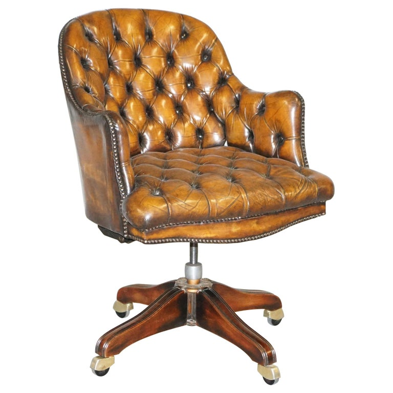 Fully Restored Vintage Brown Leather Chesterfield Captains Directors Armchair For Sale