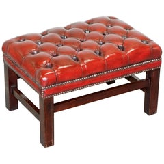 Fully Restored Vintage Chesterfield Bordeaux Leather Hand Dyed Footstool Bench