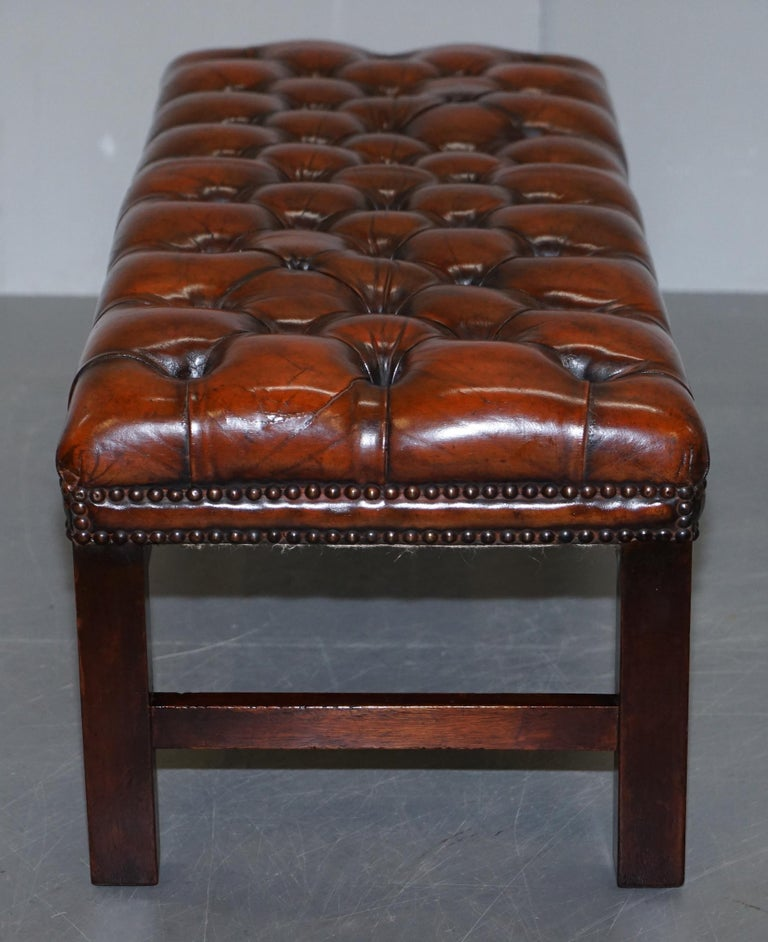 Fully Restored Vintage Chesterfield Brown Leather Hand Dyed Footstool Bench For Sale 4