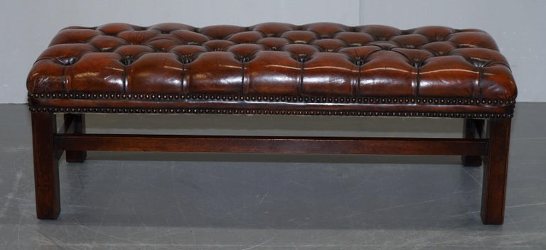 Fully Restored Vintage Chesterfield Brown Leather Hand Dyed Footstool Bench For Sale 5