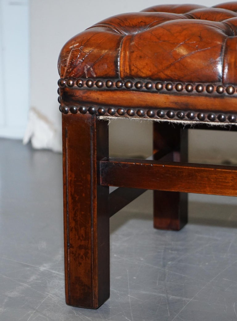 Fully Restored Vintage Chesterfield Brown Leather Hand Dyed Footstool Bench For Sale 6
