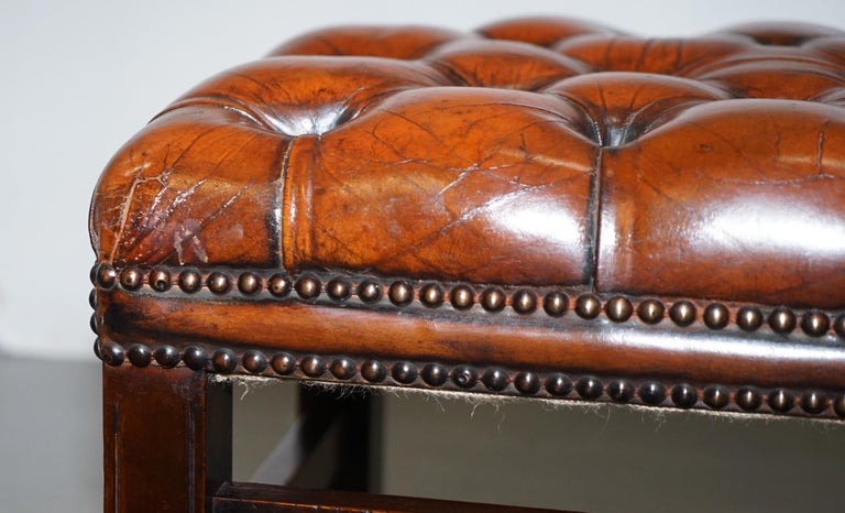 Fully Restored Vintage Chesterfield Brown Leather Hand Dyed Footstool Bench For Sale 7
