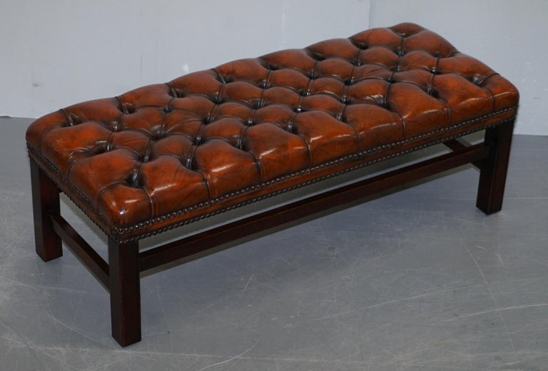 English Fully Restored Vintage Chesterfield Brown Leather Hand Dyed Footstool Bench For Sale