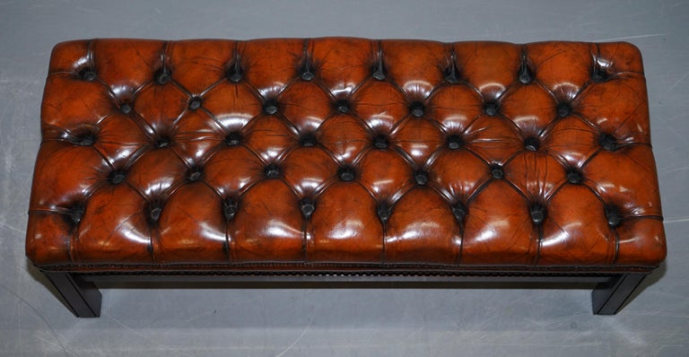 Hand-Crafted Fully Restored Vintage Chesterfield Brown Leather Hand Dyed Footstool Bench For Sale