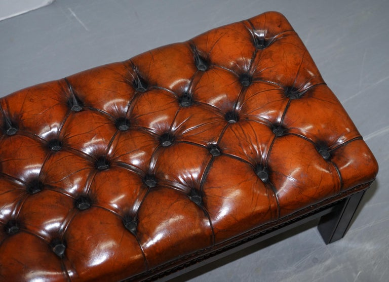 20th Century Fully Restored Vintage Chesterfield Brown Leather Hand Dyed Footstool Bench For Sale