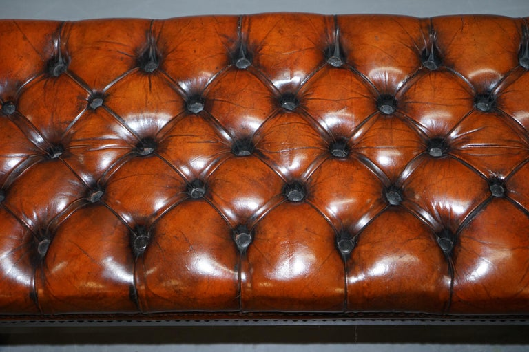 Fully Restored Vintage Chesterfield Brown Leather Hand Dyed Footstool Bench For Sale 1