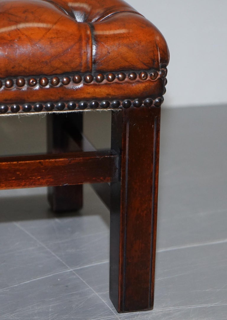 Fully Restored Vintage Chesterfield Brown Leather Hand Dyed Footstool Bench For Sale 3