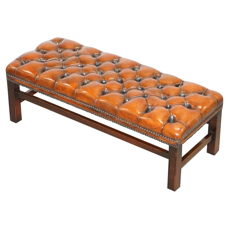 Fully Restored Vintage Chesterfield Brown Leather Hand Dyed Footstool Bench For Sale