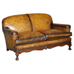 Fully Restored Walnut Framed Claw & Ball Feet Brown Leather Victorian 1880 Sofa