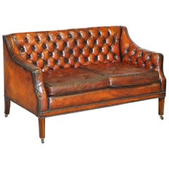 Fully Restored Whisky Brown Leather Lutyen's Viceroy Sofa, circa 1900
