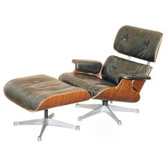 Fully Stamped 1960s Charles Eames Herman Miller Hille Lounge Armchair & Ottoman