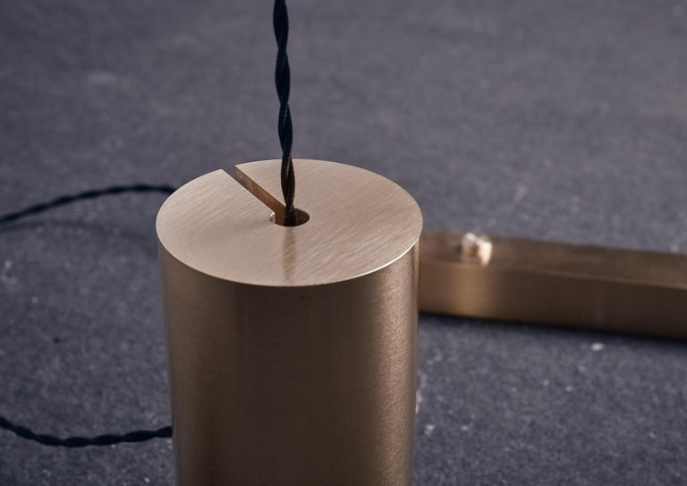 Fulmine Three Lights Floor to Ceiling Minimalist Sculptural Lamp Brushed Brass For Sale 7