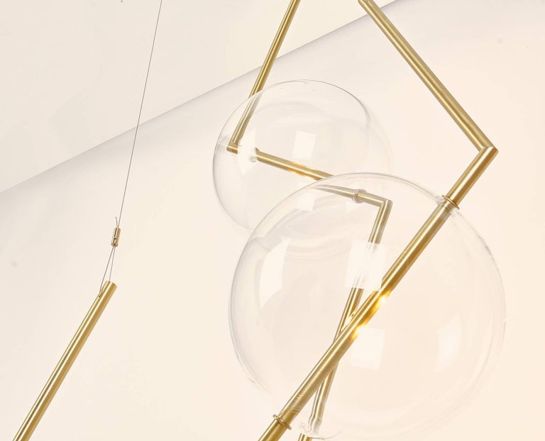 Contemporary Fulmine Three Lights Floor to Ceiling Minimalist Sculptural Lamp Brushed Brass For Sale