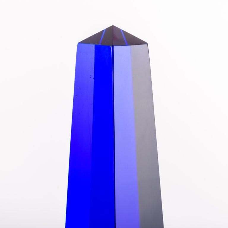 Mid-Century Modern Fulvio Bianconi Blown Glass Venini Murano Midcentury Cobalt Blue Huge Obelisk For Sale