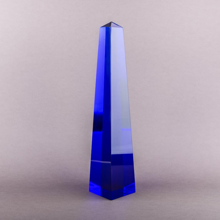 Italian Fulvio Bianconi Blown Glass Venini Murano Midcentury Cobalt Blue Huge Obelisk For Sale