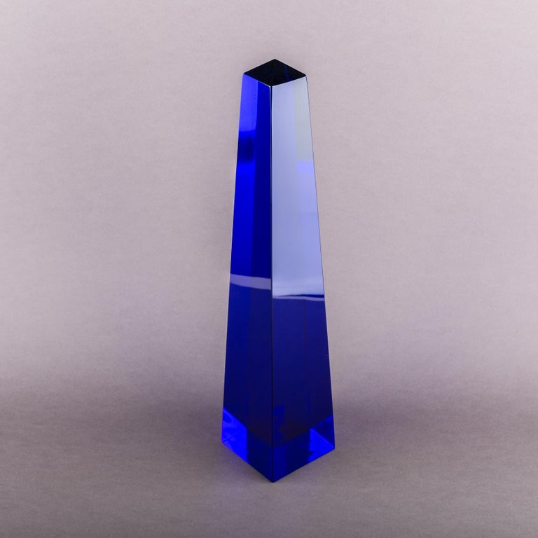 Mid-20th Century Fulvio Bianconi Blown Glass Venini Murano Midcentury Cobalt Blue Huge Obelisk For Sale