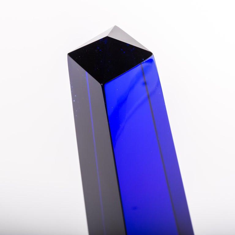 Art Glass Fulvio Bianconi Blown Glass Venini Murano Midcentury Cobalt Blue Huge Obelisk For Sale