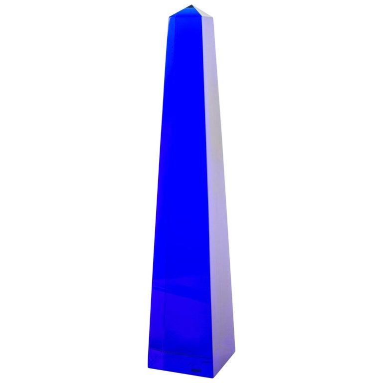 Fulvio Bianconi Blown Glass Venini Murano Midcentury Cobalt Blue Huge Obelisk For Sale