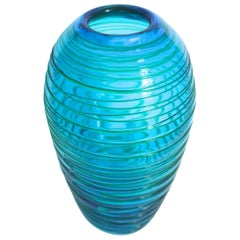 Fulvio Bianconi for Venini 1970s Turquoise Vase with Applied Lines