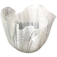 Fulvio Bianconi for Venini Acid Signed Murano Handkerchief Vase