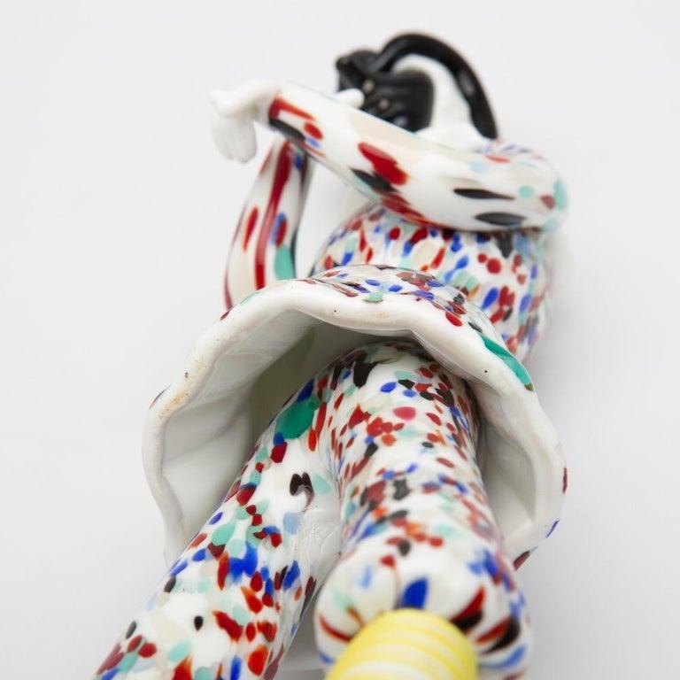 Art Glass Fulvio Bianconi for Venini Murano Pair of Figurines Arlecchino and Arlecchina