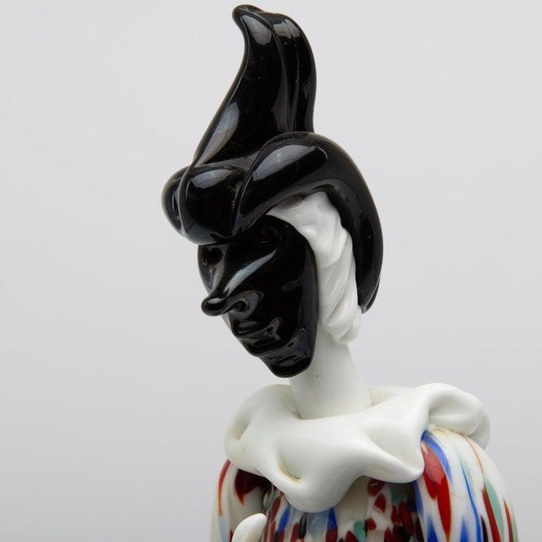 Fulvio Bianconi for Venini Murano Pair of Figurines Arlecchino and Arlecchina 1