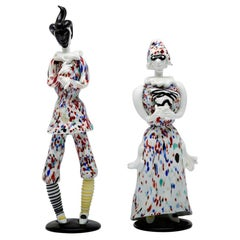 Fulvio Bianconi for Venini Murano Pair of Figurines Arlecchino and Arlecchina