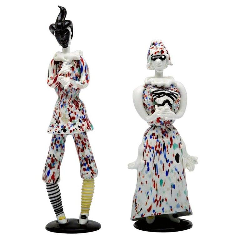 Fulvio Bianconi for Venini Murano Pair of Figurines Arlecchino and Arlecchina