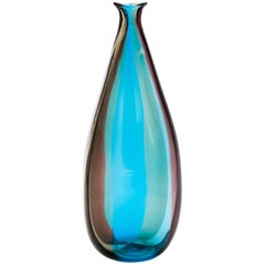 Blau-braune Vase von Fulvio Bianconi für Venini Murano Spicchi, Mirro