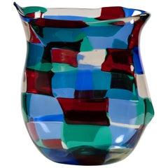 """Fulvio Bianconi, """"Horned"""" Pezzato Vase in """"Paris"""" Color Variation, Venini Murano"""