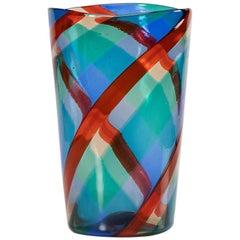 Fulvio Bianconi Twisted Canes Vase for Venini Murano Italia