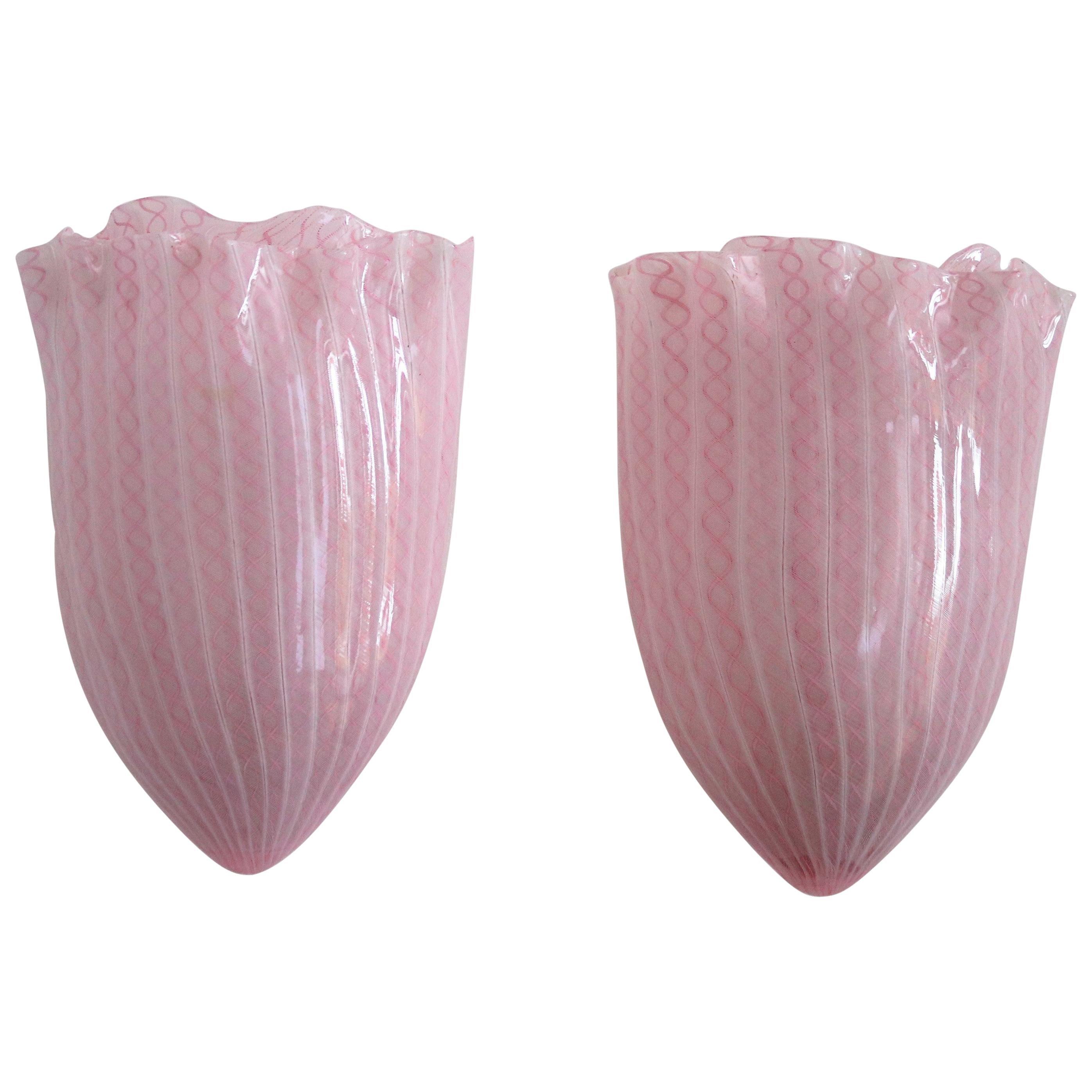 Fulvio Bianconi Venini Italian Midcentury Wall Sconces in Pink Murano Glass