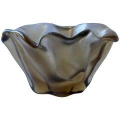 Fulvio Bianconi, Venini Satin Iridescent Murano Glass Vase Rare 4-Line Acid Mark