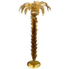 Fumè and Gold Murano Glass Palm Tree Floor Lamp, Brass Fittings, 1970s