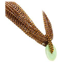 Fume Quartz Amber Donut Jade Pendant 925 Gilded Silver Choker Beaded Necklace
