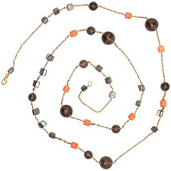 Fume Quartz Coral Mother of Pearl Beaded Short Long Wrap Around Necklace