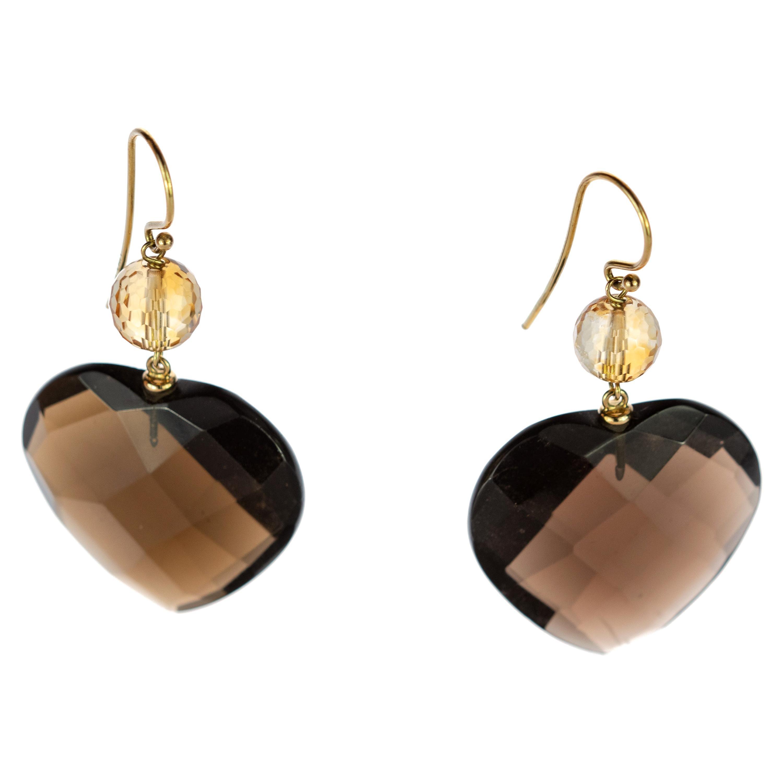 Fume Quartz Heart Citrine Sphere 18 Karat Yellow Gold Stud Dangle Stud Earrings