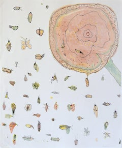 Spring Break, playful pastel bug print, monotype